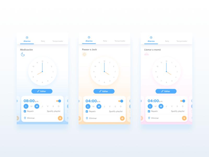 Alarm app concept magenta blue and yellow blue time concept app clock alarm icons typography bogota ui