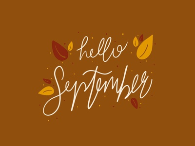 Hello September lettering procreate hand drawn autumn leaves autumn fall hand lettering handlettering illustration typography
