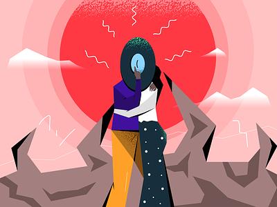 Private Intimacy vector illustration charcter design sun art illustration valentines love intimacy privacy