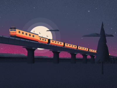 Rail express nature wild vector art night sky digital art illustration vector travel vacation holiday train rail