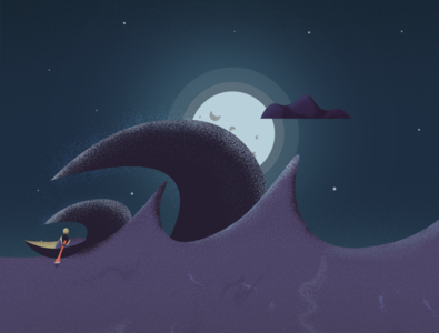 Stormy Night cloud nature art illustration wave sail boat fisherman sea moon might weather time storm
