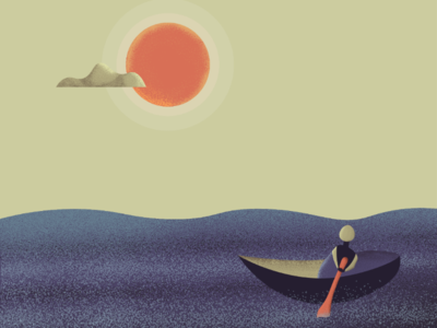 Sunshine after the Storm artwork design texture ship row ocean illustration weather sunshine