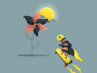 Buzz to the flower positivity flower happy fly illustration flat design texture sunshine buzz honey bee