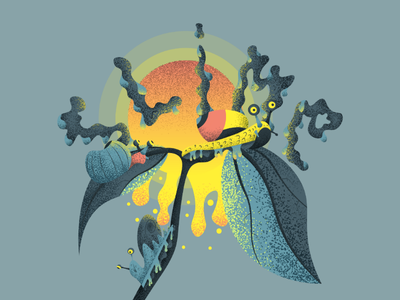 Slimy snails. gnarly smile delicate sun leaf flat design contemporary illustration vector slime snail