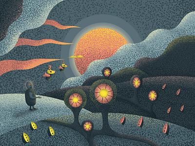Grain Dream night unity horizon nature illustration illustrator landscape cartoon colors vivid texture grain dream