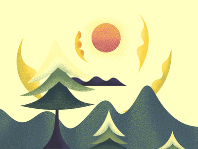 Sun Dance sunny warm sweet wind trees sky dance sun abstract landscape illustration