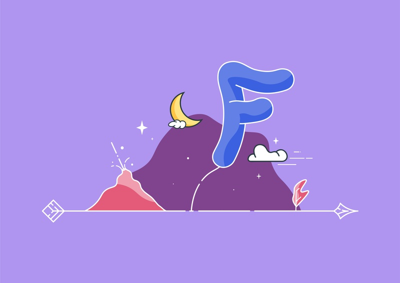 F for Female vector illustration art typedesign cloud nature landscape 36daysoftype illustration typography type typeface