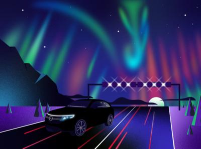 Benz in Northern lights