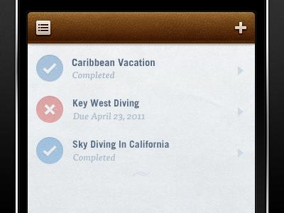Checklist checklist leather brown app blue red iphone