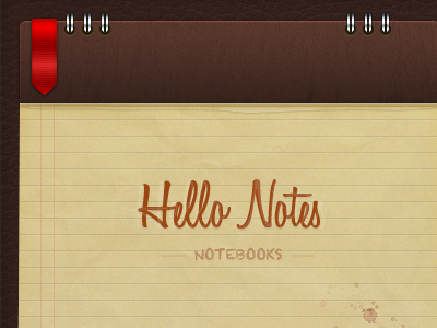 Notepad PSD metal red brown yellow paper leather ribbon notepad psd