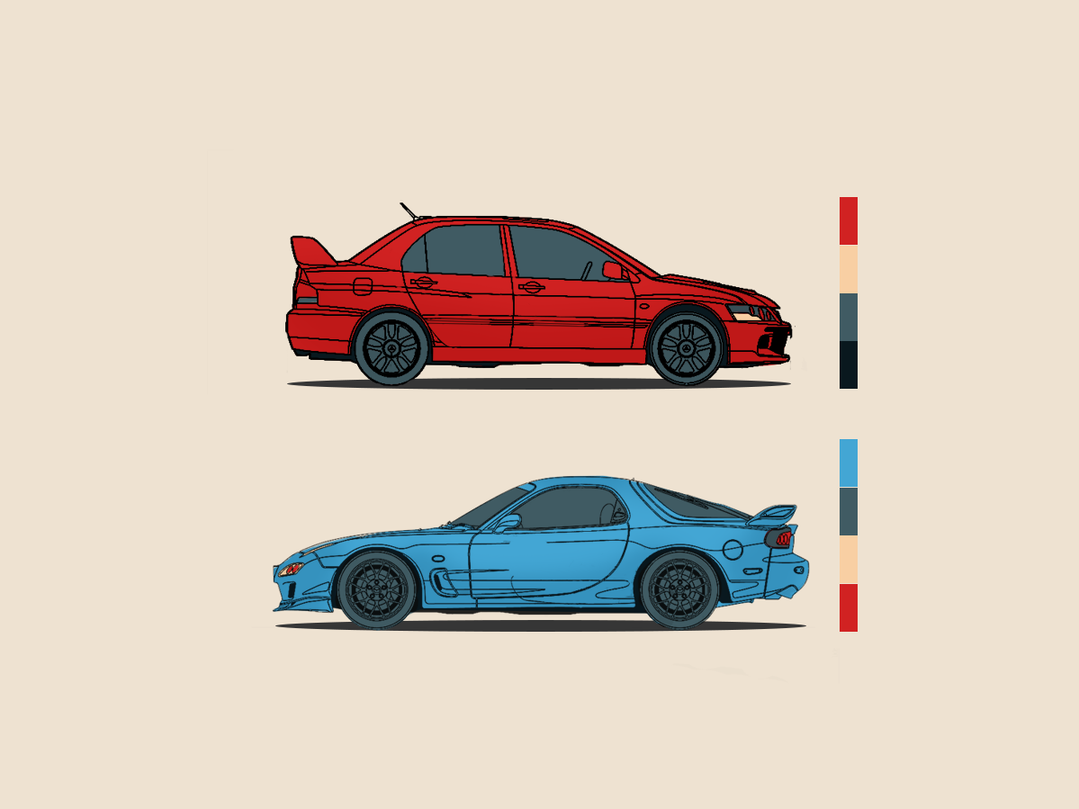 Mitsubishi EVO & Mazda RX-7 vectorart modern colorful abstract art minimalistic simple design abstract illustration abstract colors vector evolution cars evo mitsubishi rx7 mazda