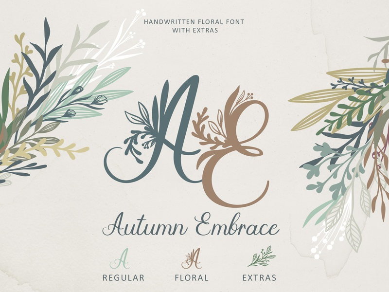 Autumn Embrace Floral font with Extras by Anna Markovets on Dribbble