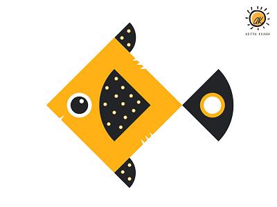 Fish illustration design dribble fishbowl circle design circle square seafood kite logo fish