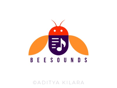 Bee Sounds vector branding dribbble illustration icon design illustrator sound music logodesign logo