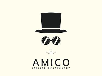 Amico Restaurant designer logo brand simple glasses hat restaurant italian amico