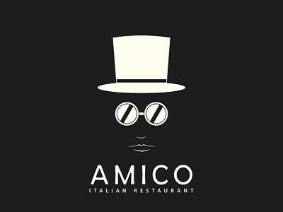 Amico Restaurant Black designer logo brand simple glasses hat restaurant italian amico