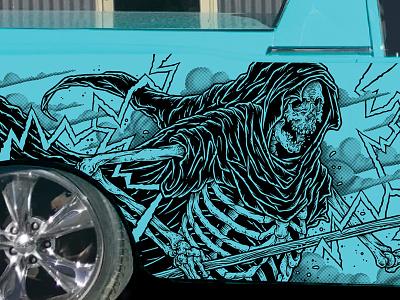 Classic Ute car vinyl wrap wrap vinyl car skeleton illustration