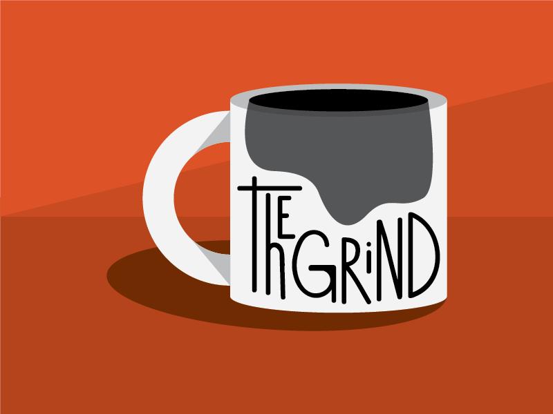 The Grind hand lettering vector illustration coffee mug logo design thirty logos lettering vector mug coffee orange logos logo