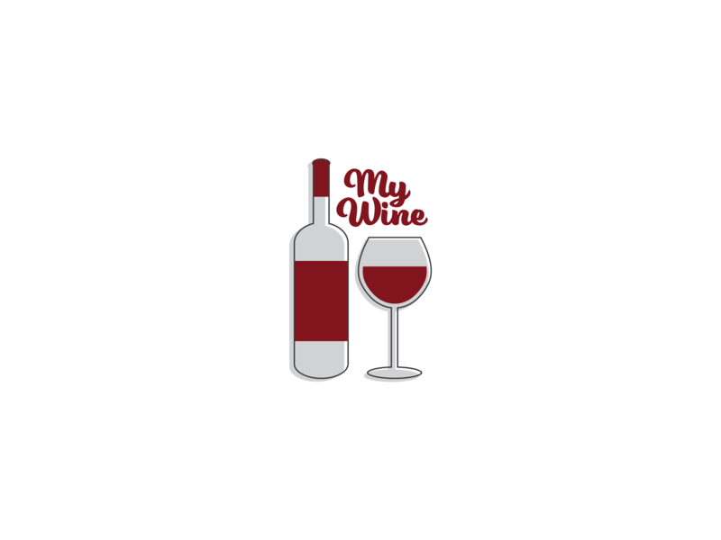 My Wine merlot icons wine bottle wine glass drink wine red icon design type icon thirty logo challenge thirty logos logo design logos logo