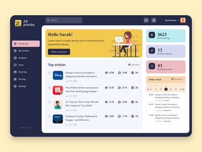 Blog Analytics Dashboard Web Application blog post earning blogging analytics dashboard blog article figma uiux ux freelancer freebie admin ui admin template admin panel admin design admin dashboard download for free uidesign design