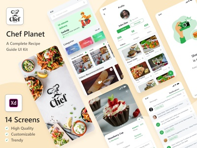 Food Recipe App UI Kit ui kit design ui kit ui design ui  ux food and drink food illustration food restaurant foodie recipes app food recipes food recipe food app branding ui android illustration uiux ux design uidesign