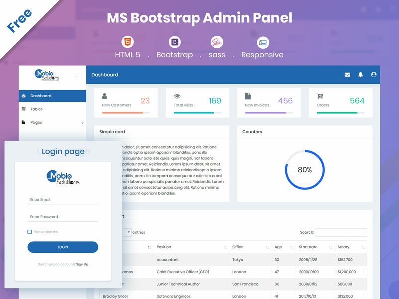 MS Bootstrap - A Sass based Bootstrap admin panel template ux web ui download for free free mobiosolutions scss sass css html 5 design dasboard admin panel bootstrap admin template bootstrap 4 bootstrap