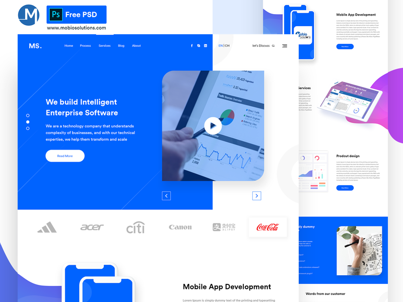 Ms Agency   Free Multipurpose Psd Template mobile app ux design free bootstrap ux uidesign design 2019 trend download for free agency branding agency