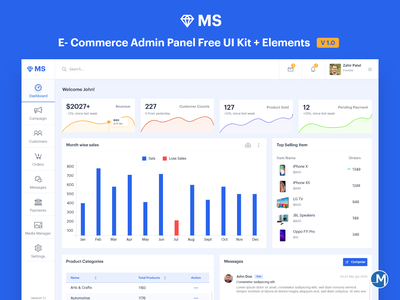 MS E-Commerce Admin Panel | Free UI Kit 2019 trend ux bootstrap design download for free uidesign latest design ui design wireframe free ui kit ms free template e-commerce ui kit free dashbaord admin panel admin