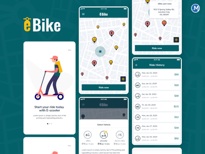 eBike Renting Mobile Application theme (E Mobility Solutions) theme mobile app ui app concept map uidesign uiux ux ui bike scooter mobile design mobile app design mobile app mobile ui e-vehical app design design app ui application app