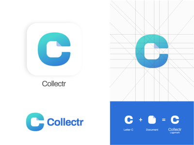 Brand identity - Collectr negative space branding logomark logo design brand logo brand identity