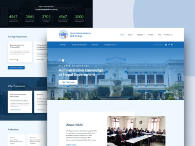Landing page for Nepal Administrative Staff College nepal user interface website design ui staff college redesign project landing page