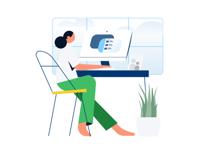 WFH workspace plant computers design character animation minimal illustration illustrator workfromhome