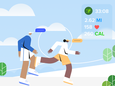 Stay Fit workout running design minimal illustration illustrator fitness app apple google character jogger fitness