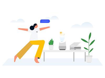 Yoga speaker plant character apple google minimal design illustration illustrator yoga
