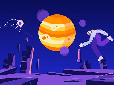 Astronaut mars saturn jupiter solar system galaxy universe space astronaut moon planets