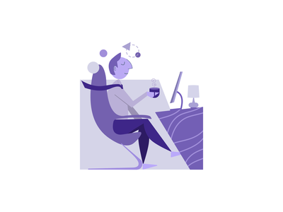 Think office desk coffee think work app illustration character design minimal