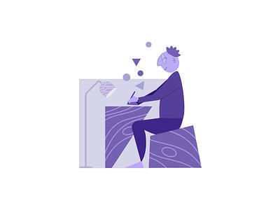 Writer desk work reader writer illustration character design minimal