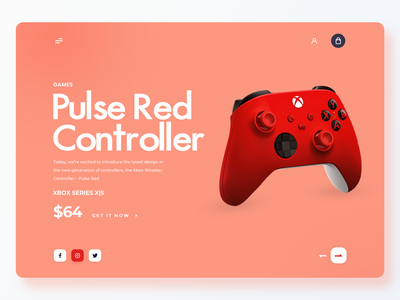 Xbox Pulse Red Controller web banner ecommerce website design graphic design xbox red controller banner colors illustration web design app ui website ux