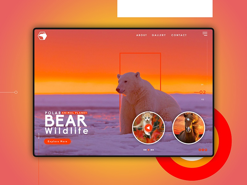 Polar Bear website concept landing page nature animal wallpaper design web website ui app ux