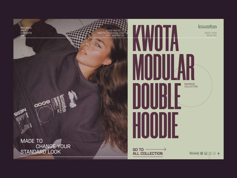 KWOTA¼ — LANDING modular design modules module modular hoodies hoodie fashion design fashion brand fashion daily ui dailyui shop ux website web design web ui minimal design
