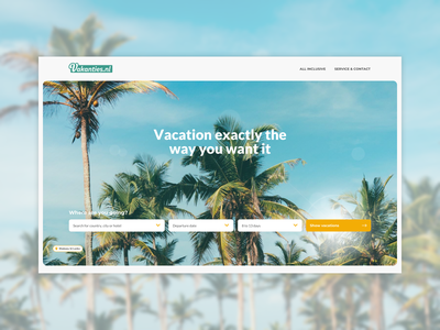Vakanties.nl summer sunny tropical search bar vacation