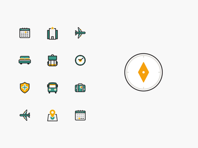 Icons Vakanties.nl line icon suitcase location map luggage insurance van hiking travel time clock backpack accommodation bed hotel airplanes airplane compass calendar icons