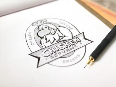 Pencil Sketching a logo concept label chicken art pencil sketch branding design logo