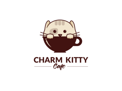 Charm Kitty kitten cup coffee cafe kitty cat branding design logo