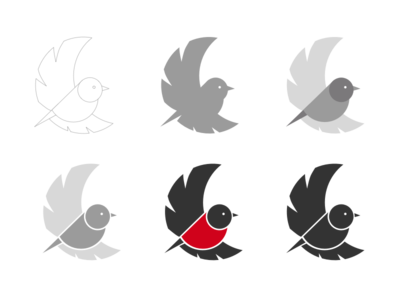 Birdy doodle robin logo mascot flying bird