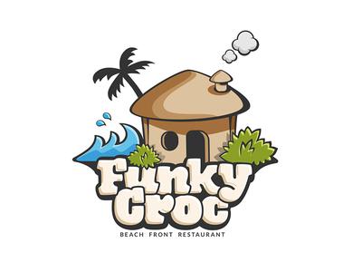 Funky Croc waves bush palm funky croc hut beach kitchen shack restaurant design logo