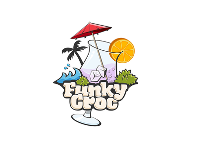 Funky Croc palm beach waves sea cocktail restaurant design logo