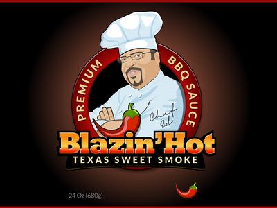 Blazin' Hot chef illustration graphics spicy blazing bbq sauce label package