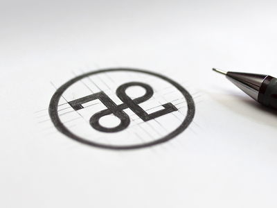 Jacie Leigh enclosed symmetric symbol sketch pencil design logo