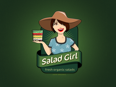 Salad Girl illustration design organic fresh green character girl salad mascot
